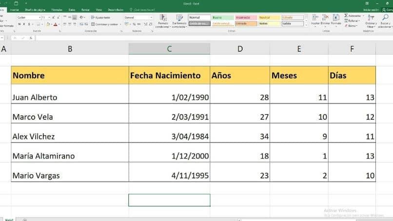 calcular la fecha de nacimiento de Excel