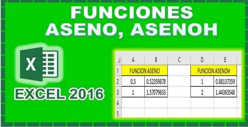 Funciones de hoja de cálculo de Excel ASENO, ASENOH