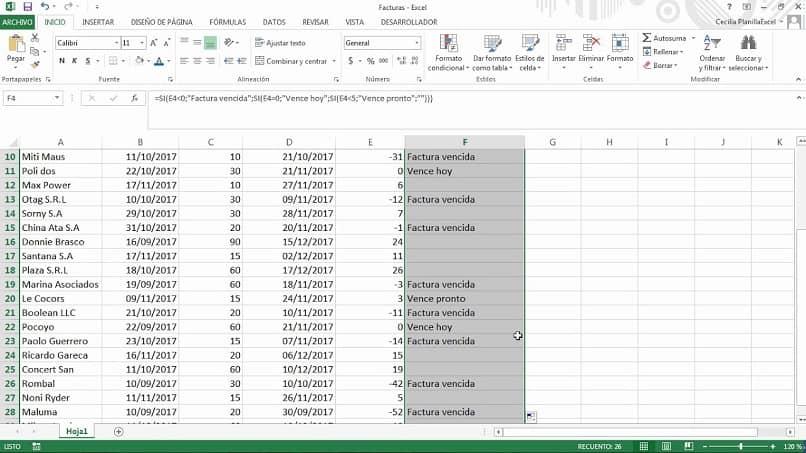 futura fecha de vencimiento de Excel