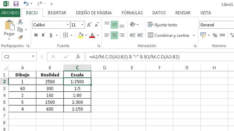 ejemplo de Excel con la función mcd