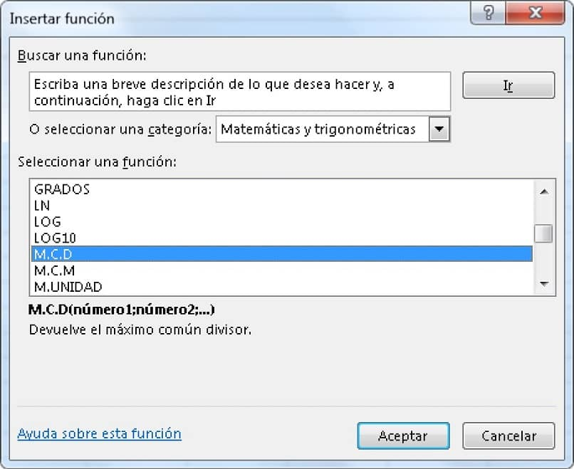 pantalla de Excel para ingresar una función