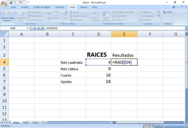 Raíz cuadrada en Microsoft Excel