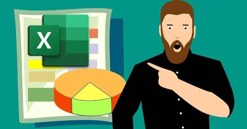 Ilustración de hombre con fondo verde de ventana de Excel