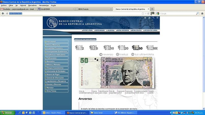 El sitio web del Banco Central de la República Argentina