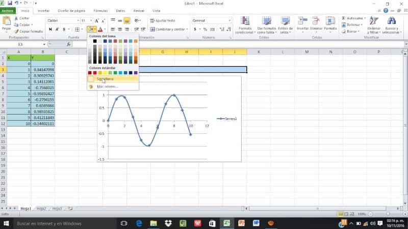 sobresalir con hojas de trabajo y funciones trigonométricas
