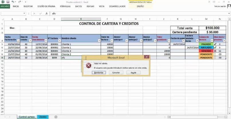tabla de Excel