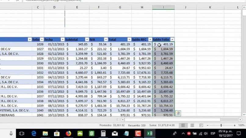 herramienta de cálculo de Excel