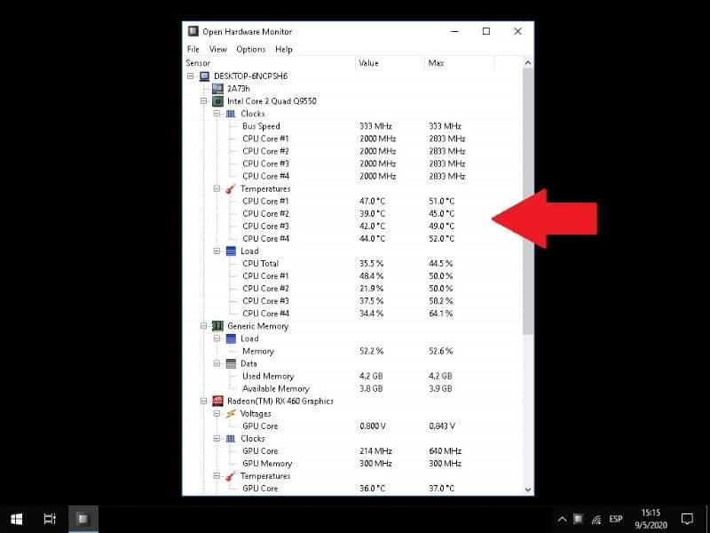 Mide la temperatura de la CPU de Windows
