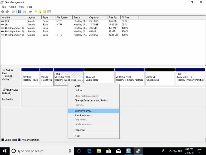 ver los pasos de capacidad del disco duro