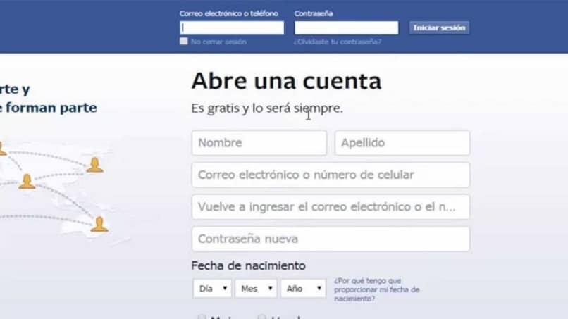 Página principal de Facebook para la conexión