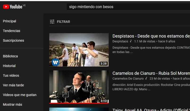 buscar canciones en youtube