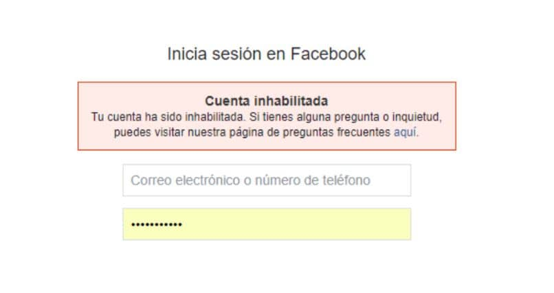 La cuenta de facebook fue desactivada con asteriscos