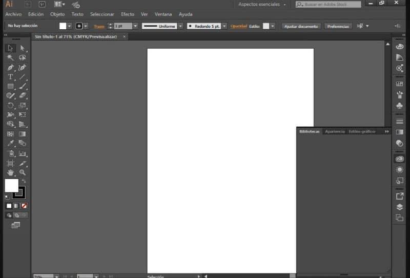 Pantalla de Adobe Illustrator CC