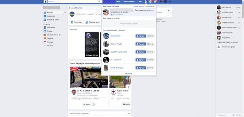 propuesta de amistad en facebook