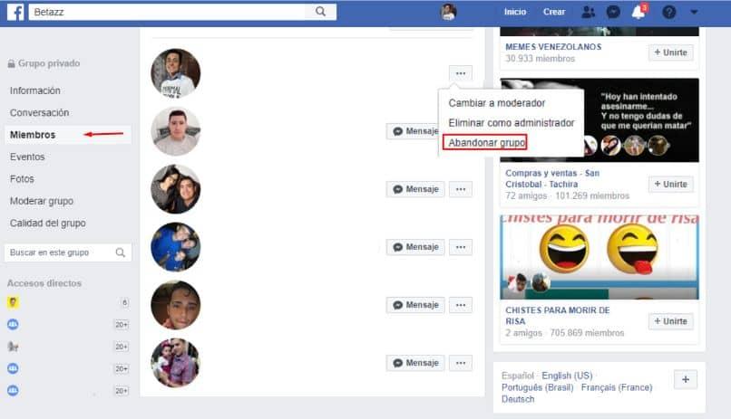 grupo de salida de la página de facebook