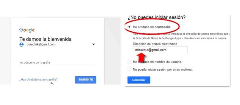 cuenta de google olvida tu contraseña