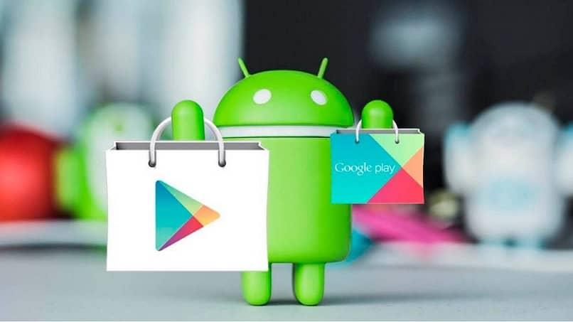Bolsos de compras de la juguetería de Android