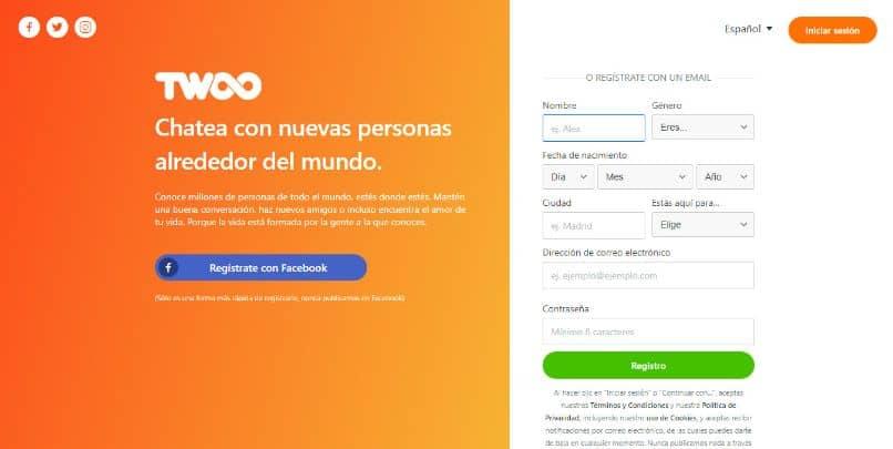 Twoo app facebook twitter instagram fondo naranja
