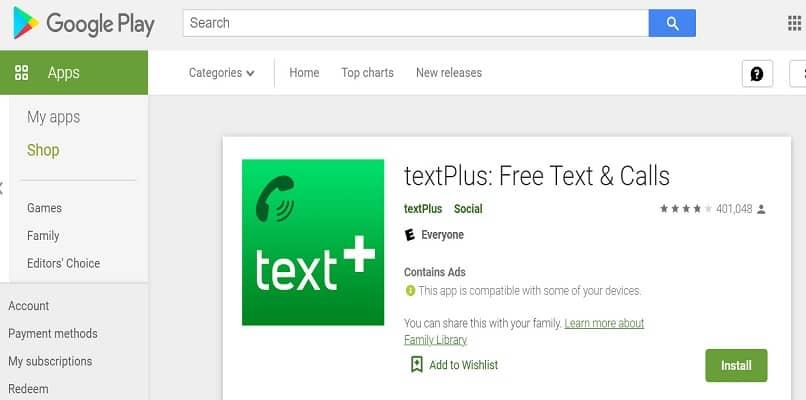 aplicación play store textplus