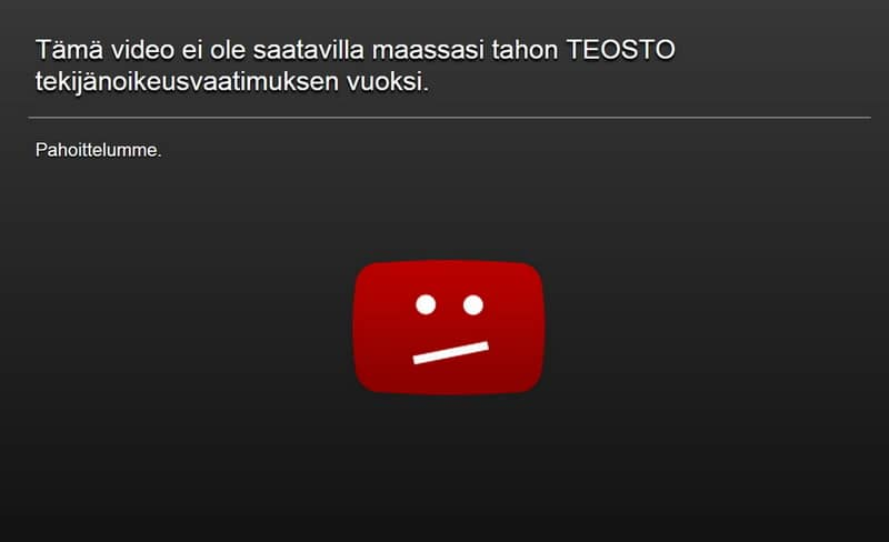 Video de YouTube bloqueado