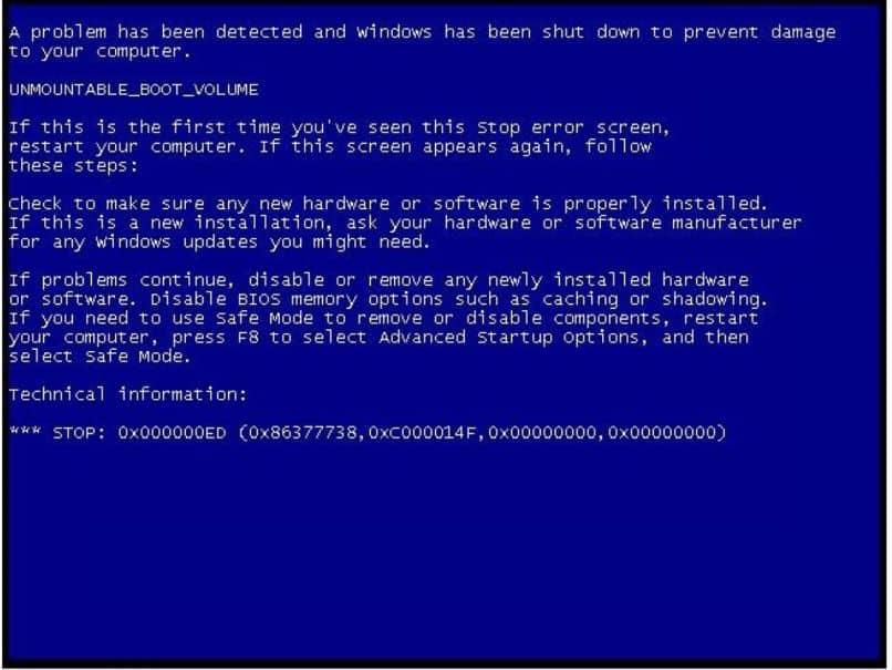 Pantalla azul de Windows 7