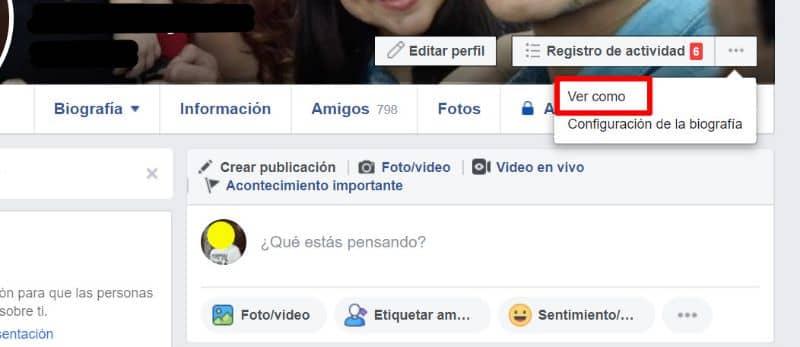 Opción de configuración de perfil de Facebook