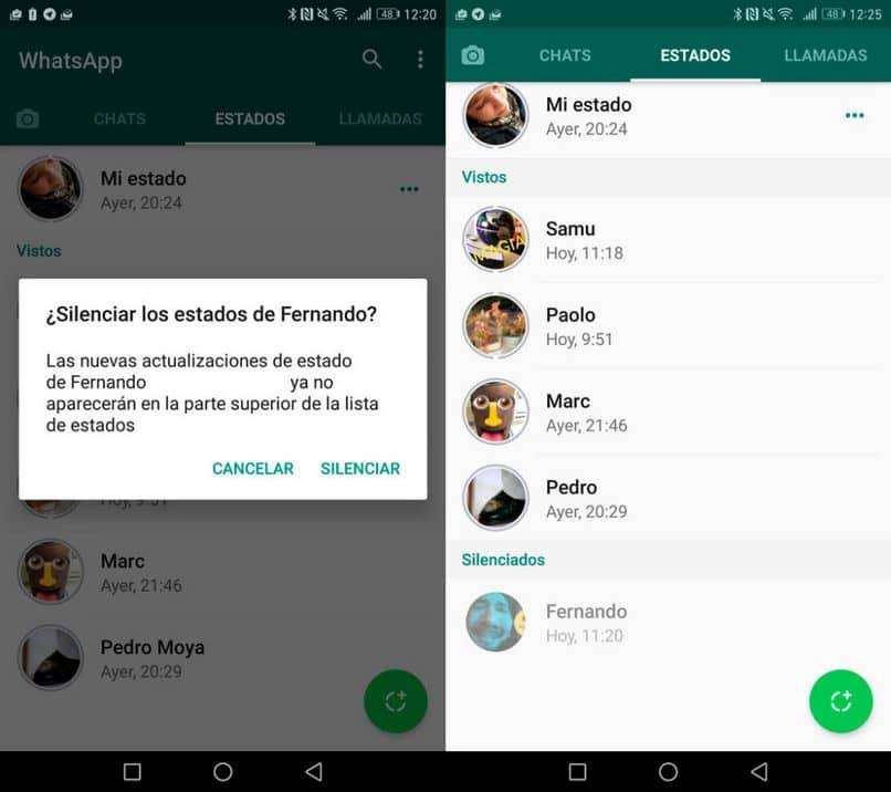 Silenciar el estado de whatsapp