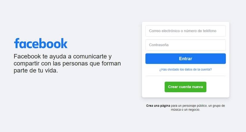Sitio web de Facebook