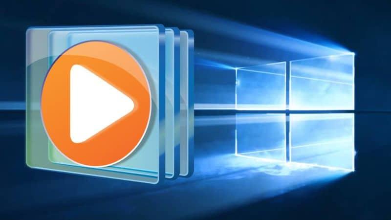 logotipo del reproductor multimedia de Windows y ventana de funciones de Windows 10