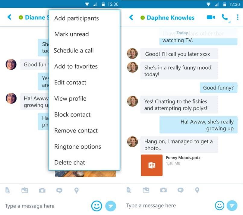 Menús y configuraciones de chat de Skype