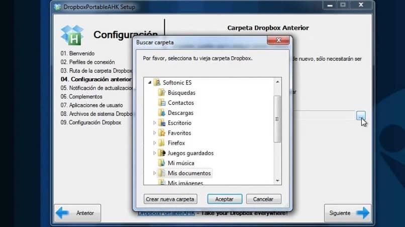 La carpeta de configuración de Dropbox