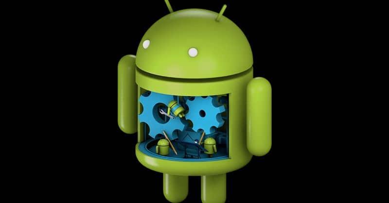 Fondo negro del sistema operativo Android