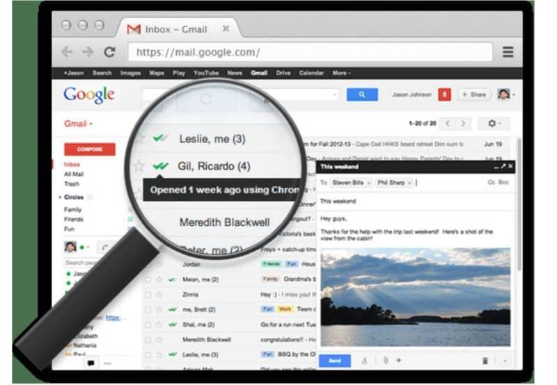 Pantalla de correo electrónico de Gmail