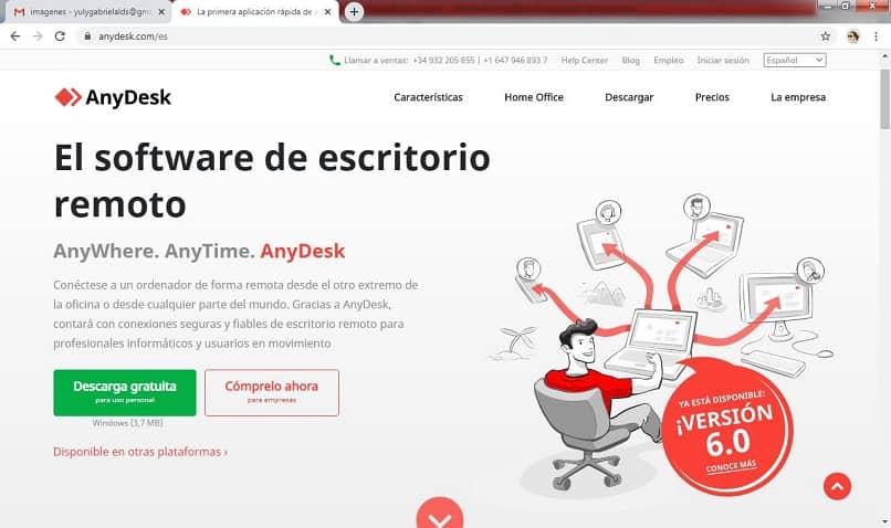 interfaz de página anydesk