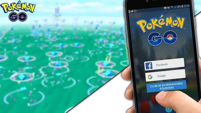 Mano sujetando un móvil con el inicio del juego Pokémon.