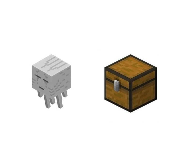 Personaje de Minecraft y objeto fantasma y cofre