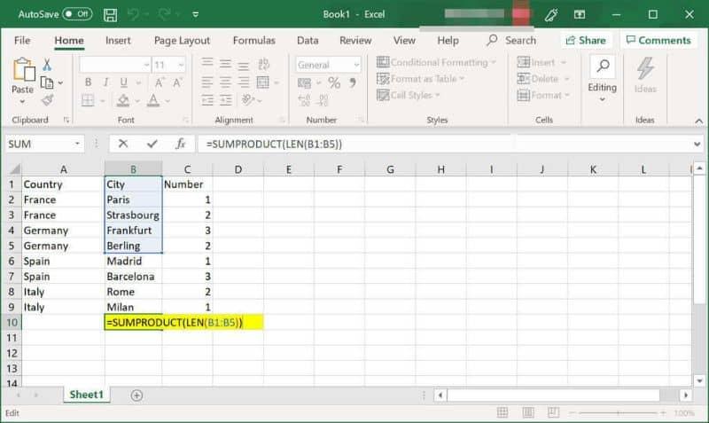 Valores en la columna de Excel