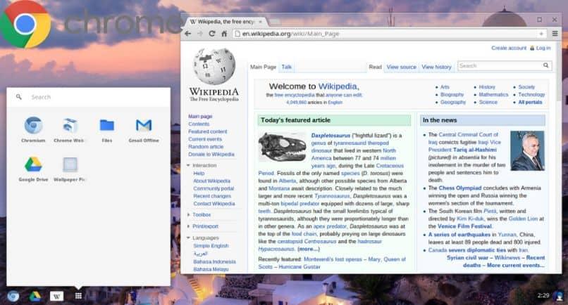 computadora de wikipedia con pantalla de cromo