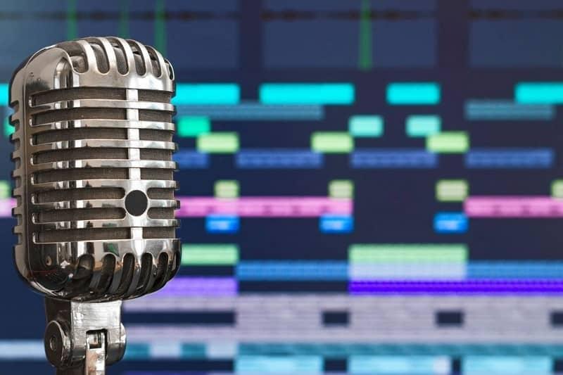 fondo de micrófono colorido