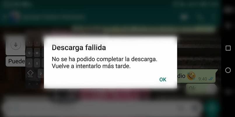 Error al descargar WhatsApp