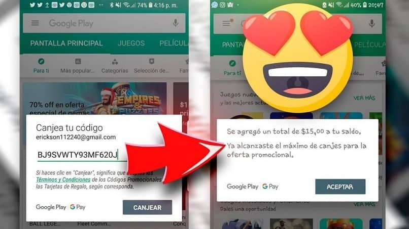 use la tienda de Google Play para canjear su tarjeta de regalo en otros países