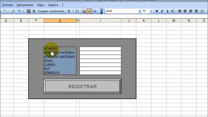 crear un formulario en Excel para ingresar datos