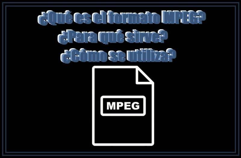 que es un fondo de formato MPEG negro y un icono de archivo mpeg