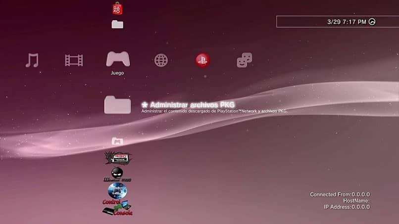 pantalla que refleja un mensaje que hace referencia al archivo pkg de playstation