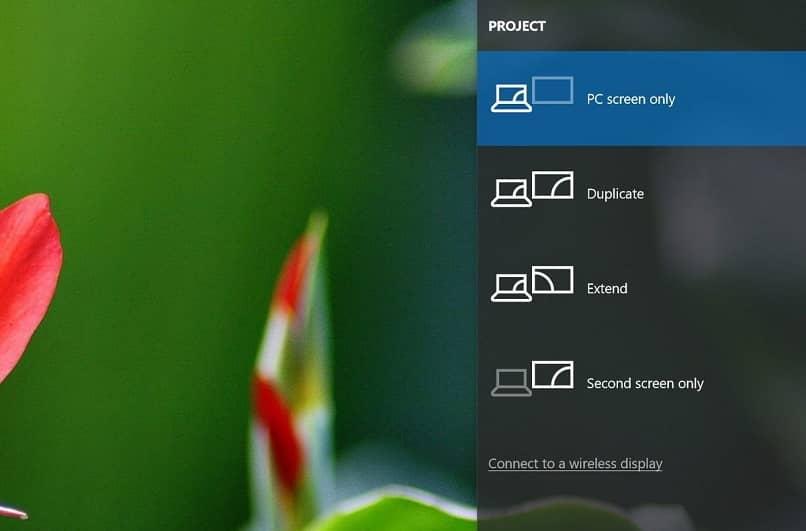 Ventana de Windows en la opción Proyecto
