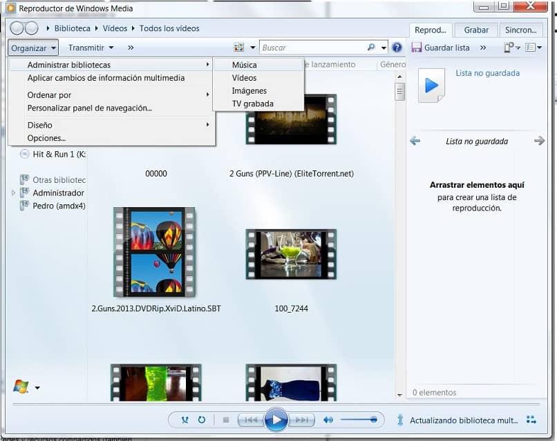 Reproductor de Windows Media en Administración de bibliotecas