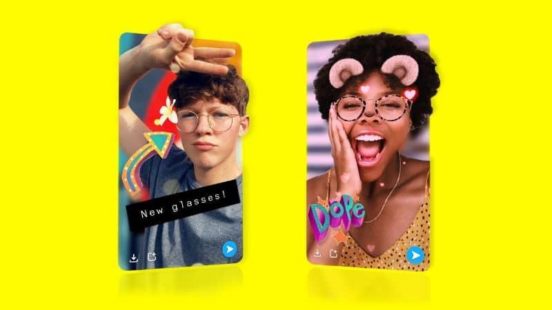 Filtros de Snapchat en el móvil con fondo blanco.