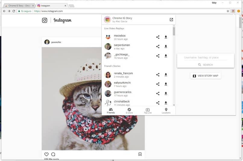 historias de instagram en la computadora