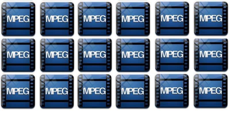 muchos iconos MPEG azules