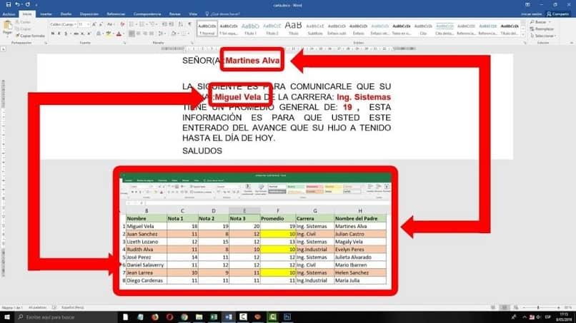 ejemplo de datos vinculados entre Excel y Word